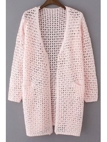 Buy Loose Hollow Collarless Long Sleeve Cardigan - PINK ONE SIZE(FIT SIZE XS TO M)