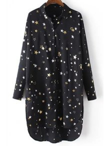 Loose Stars Print Turn-Down Collar Long Sleeve Chiffon Shirt