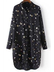 Loose Stars Print Turn-Down Collar Long Sleeve Chiffon Shirt - Black S