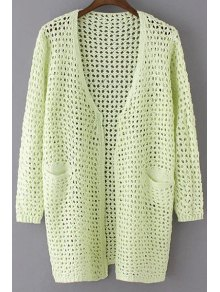 Buy Loose Hollow Collarless Long Sleeve Cardigan - GREEN ONE SIZE(FIT SIZE XS TO M)