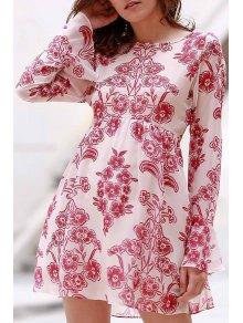Vintage Floral High-Waisted Dress - Pink S