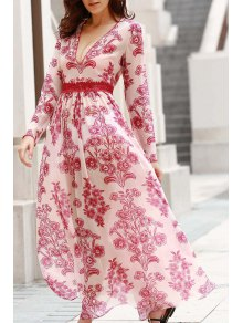 Deep V Neck Flower Print Long Dress - Red With White L