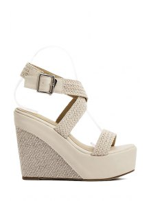 Weaving Cross-Strap Wedge Heel Sandals - Apricot