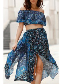 Buy Off-The-Shoulder Crop Top + Printed Midi Skirt Twinset - BLUE L