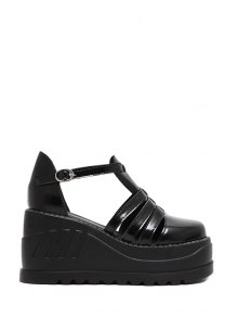 T-Strap Hollow Out Black Platform Shoes