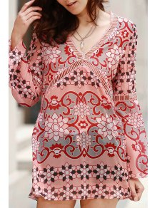 V-Neck Flare Sleeve Tunic Dress
