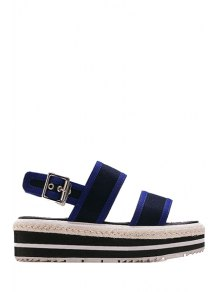 Color Block Cloth Platform Sandals - Blue 39