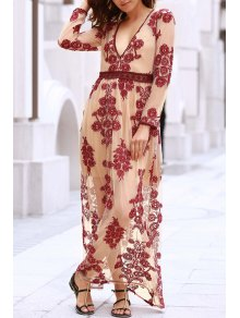 Floral Embroidery Plunging Neckline Maxi Dress