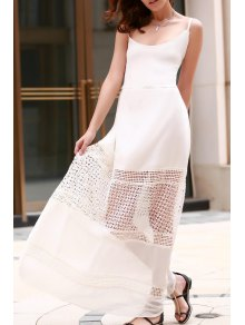Lace Spliced Cami White Maxi Dress - White L