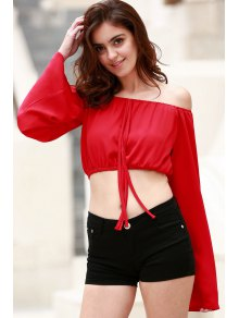 Off The Shoulder Boat Neck Puff Sleeve Chiffon Crop Top