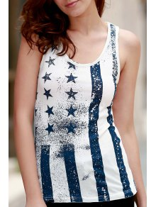 Ombre Star Print Scoop Neck Sleeveless Tank Top