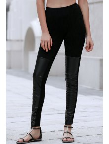 PU Leather Spliced Black Leggings