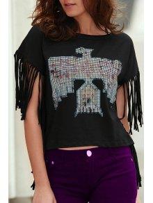 Fringed Sleeve Square Cut T-Shirt - Black M