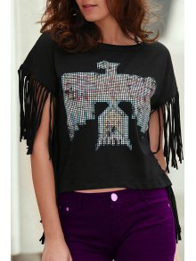 Fringed Sleeve Square Cut T-Shirt