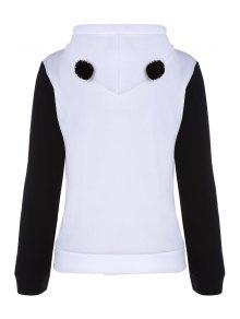 Panda Pattern Hooded Long Sleeve Hoodie - WHITE S