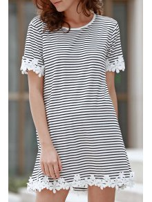 Trimming Striped Short Sleeve T-Shirt Dress - White Xl