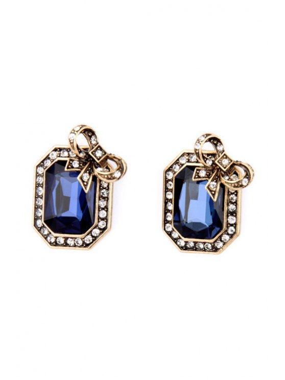new Pair of Retro Faux Crystal Rectangle Earrings - SAPPHIRE BLUE