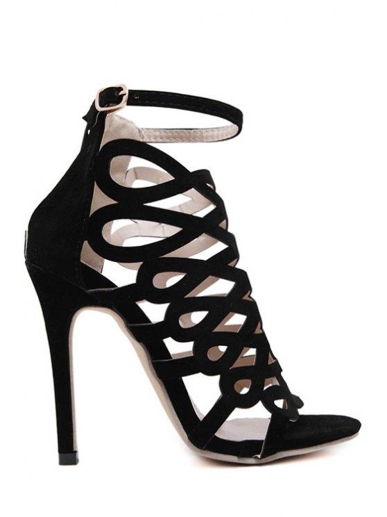 Solides Sandales à talons aiguilles couleur creux Out - Noir 36