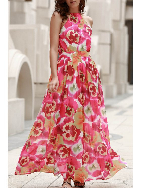 trendy High Neck Full Floral Flowing Dress - COLORMIX XL