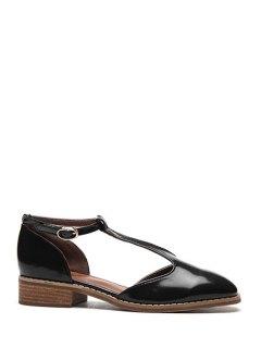 T-Strap Patent Leather Flat Shoes - Black 39