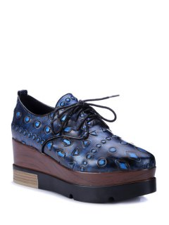 Lace-Up Embossing Pointed Toe Platform Shoes - Blue 39