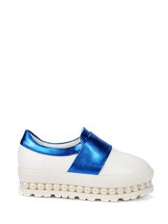 Beading Color Block Slip-On Platform Shoes - Blue 39