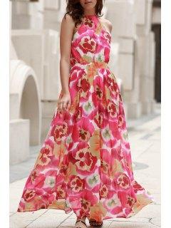 High Neck Full Floral Flowing Dress - Xl