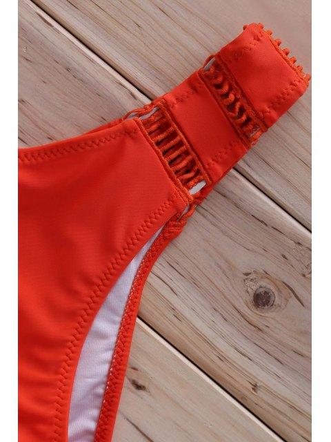best Halter Ladder Crochet Bikini Set - ORANGE S Mobile
