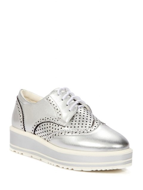 women Openwork Engraving Lace-Up Platform Shoes - SILVER 38 Mobile