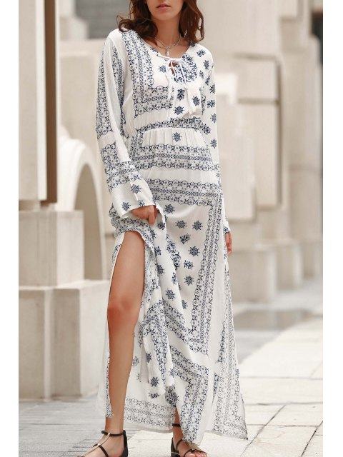 sale Flare Sleeve Blue and White Maxi Dress - WHITE M Mobile