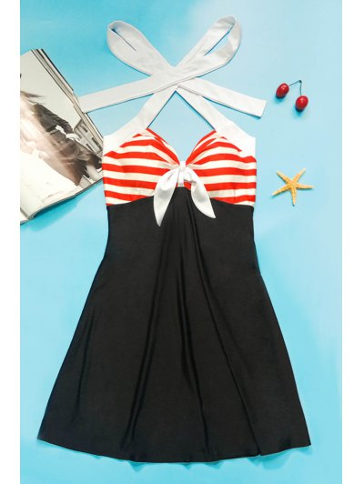 Halter One-Piece Striped Multi Convertible Way Swimwear - BLACK AND WHITE AND RED L Mobile