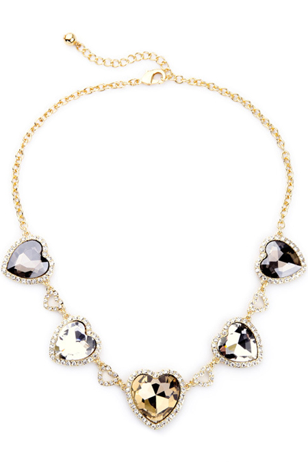 Stylish Heart Faux Crystal NecklaceAccessories<br><br><br>Color: GOLDEN