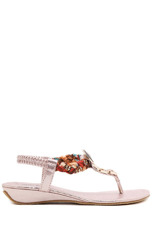 Rhinestone Metallic Low Heel Sandals