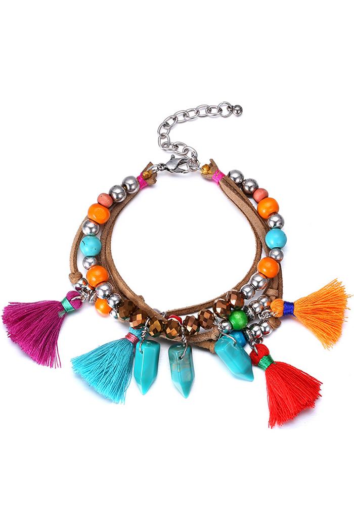Vintage Ethnic Bead Tassel Bracelet