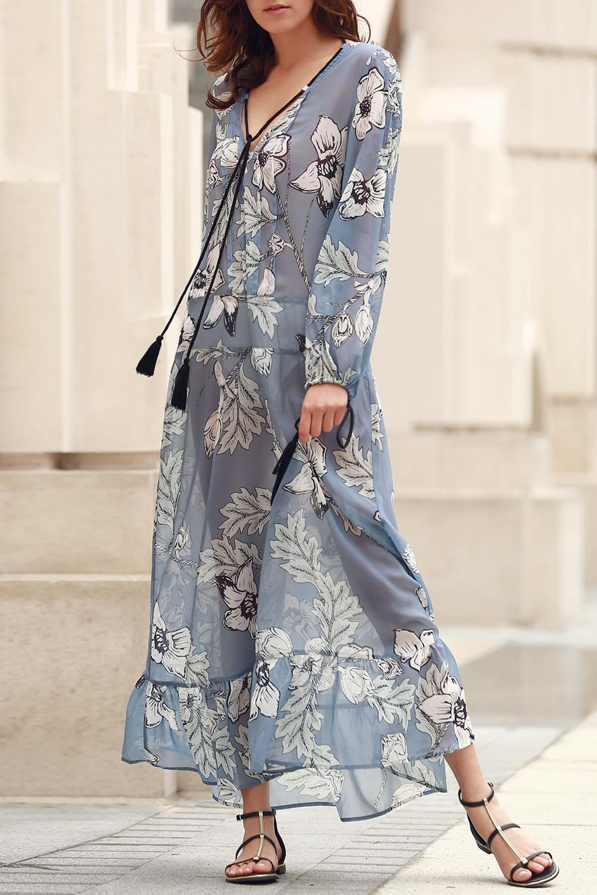 V-Neck Long Sleeve Floral Print Boho Dress