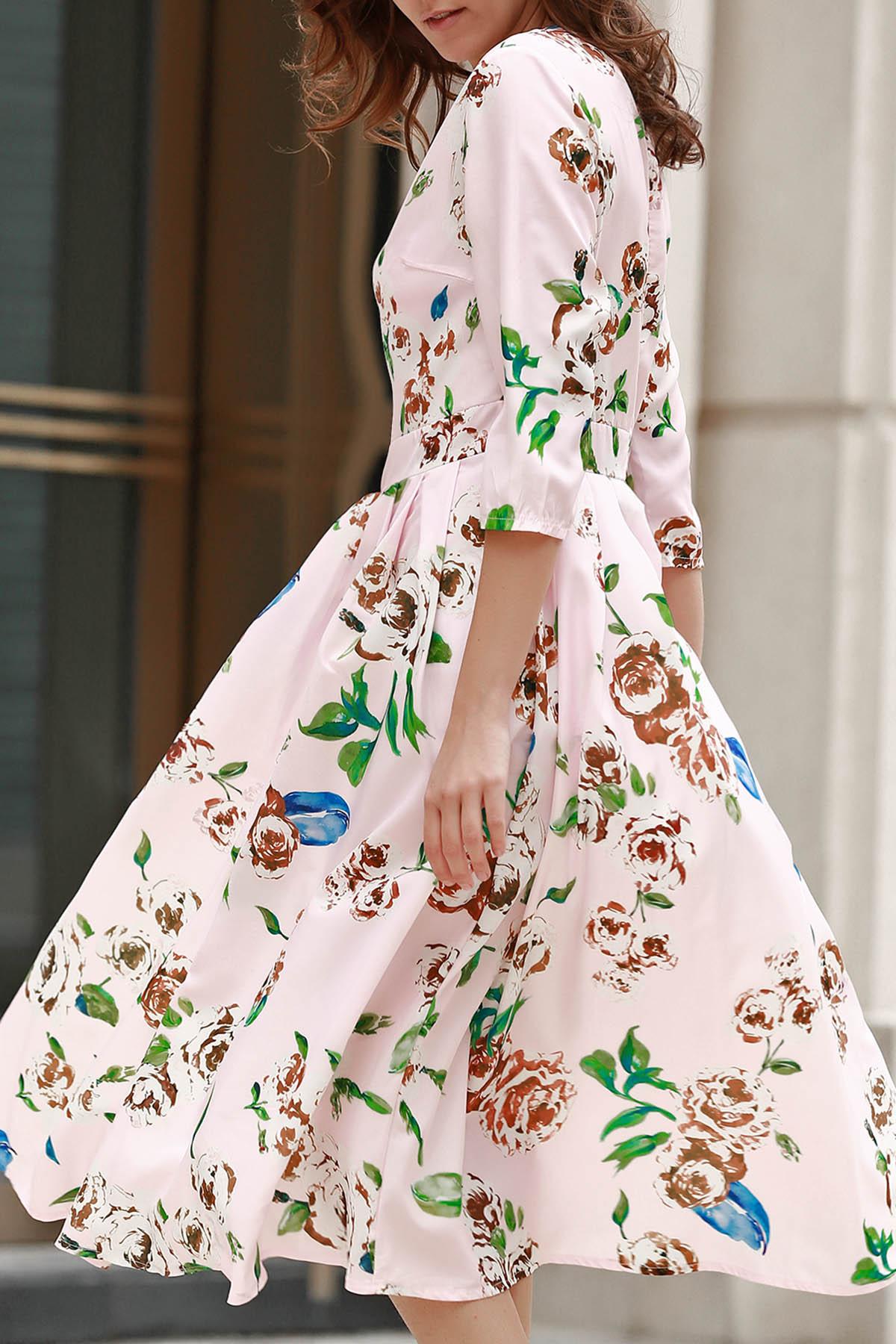 Jewel Neck 3/4 Sleeve Floral Print Midi Dress