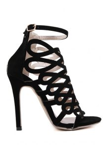 Solid Color Hollow Out Stiletto Heel Sandals - Black 36