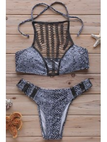 Leopard Print High Neck Crochet Bikini Set - Gray S