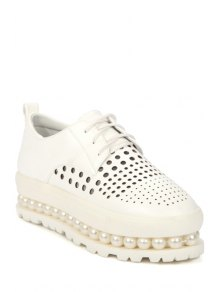 Lace-Up Hollow Out Beading Platform Shoes - White 37