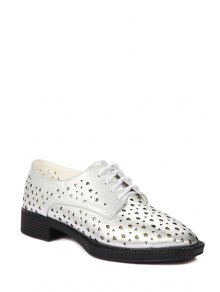Buy Hollow Lace-Up Flat Shoes - SILVER 36