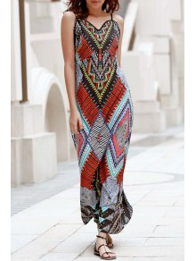 Low Back Printed Boho Dress