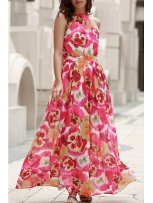 High Neck Full Floral Flowing Dress - L