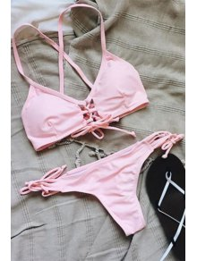 Spaghetti Strap Lace-Up Pink Bikini Set