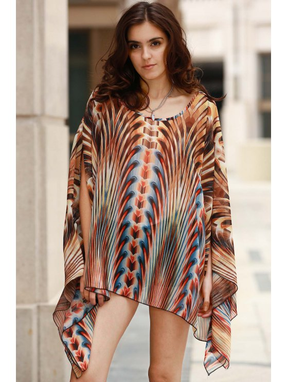 Square Cut Printed Cover-Up - COLORMIX ONE SIZE(FIT SIZE XS TO M) Mobile