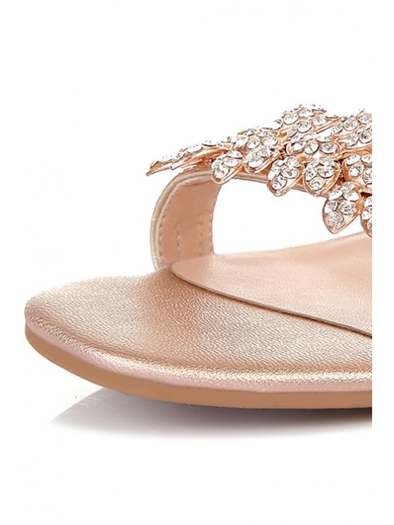 Rhinestone Hollow Out Wedge Heel Sandals - GOLDEN 37 Mobile