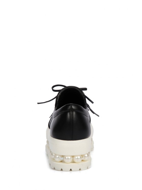 Fringe Faux Pearl Slip-On Platform Shoes - BLACK 39 Mobile