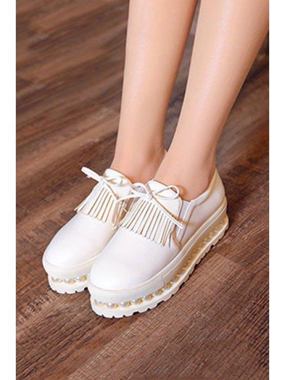 Fringe Faux Pearl Slip-On Platform Shoes - WHITE 38 Mobile
