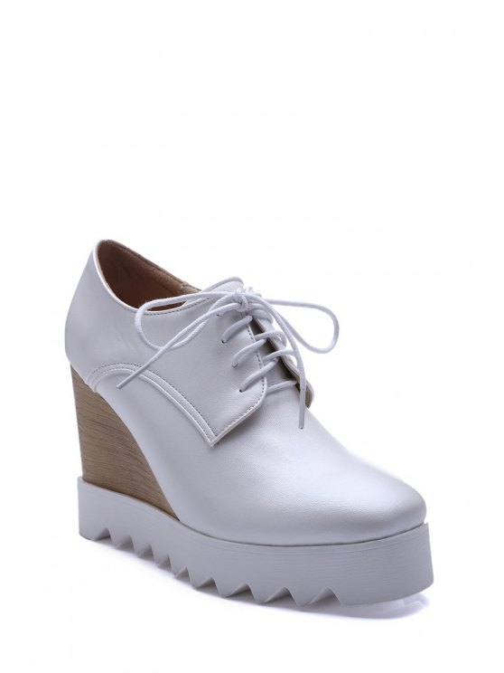 Solid Color Lace-Up Wedge Shoes - WHITE 38 Mobile