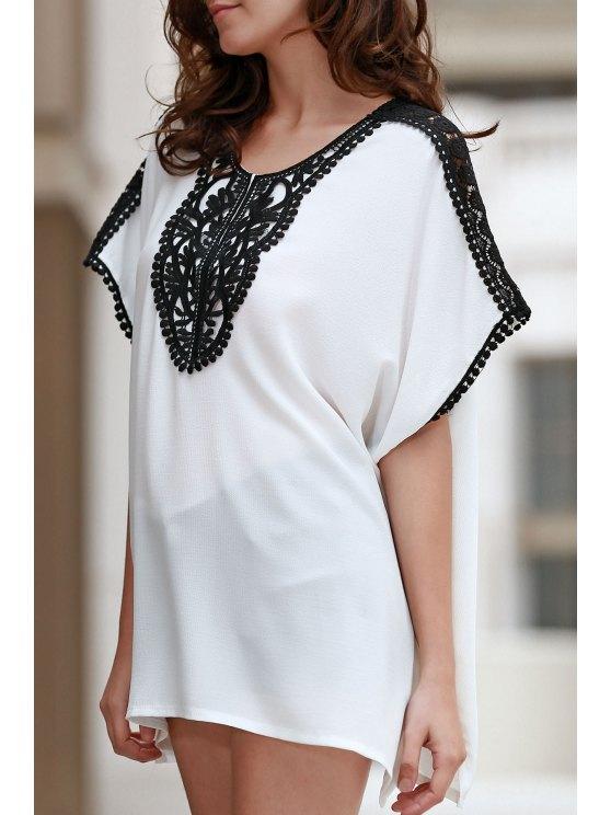 Combinado corte cuadrado del cordón de la camiseta - Blanco Un tamaño(Montar tam