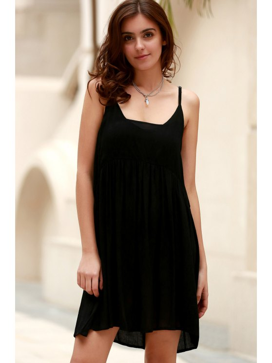Black Flared Cami Dress - BLACK L Mobile